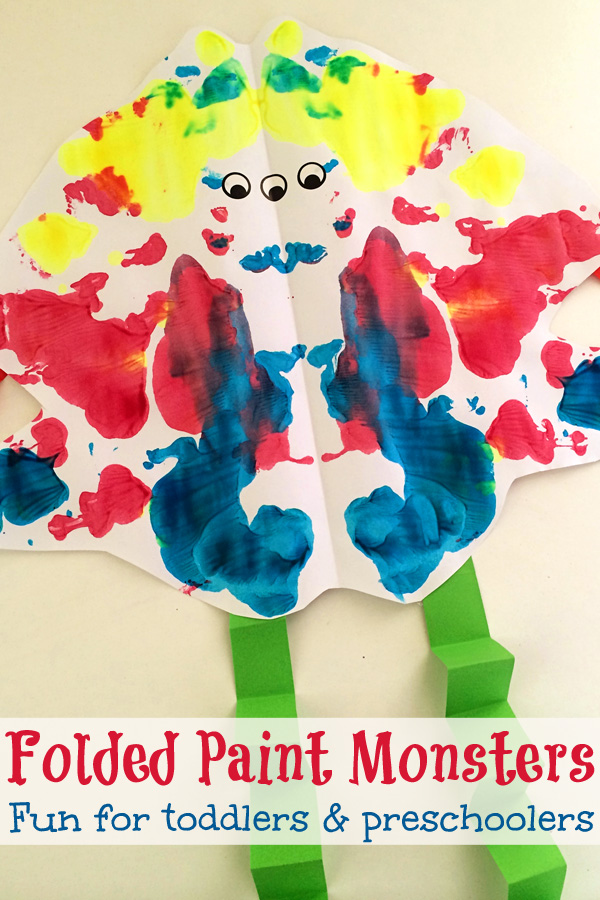 Folded Paint Monsters: Creative Halloween fun for toddlers and preschoolers