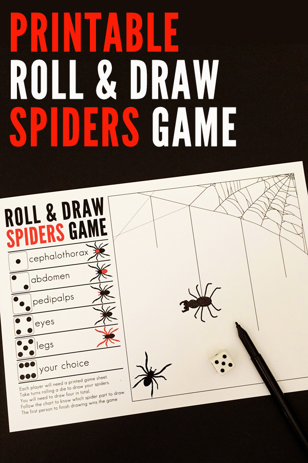 Printable Roll and Draw Spiders Dice Game