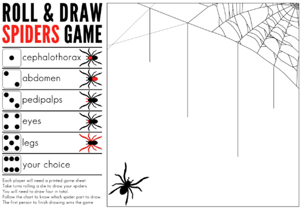 Printable Roll and Draw Spiders Game