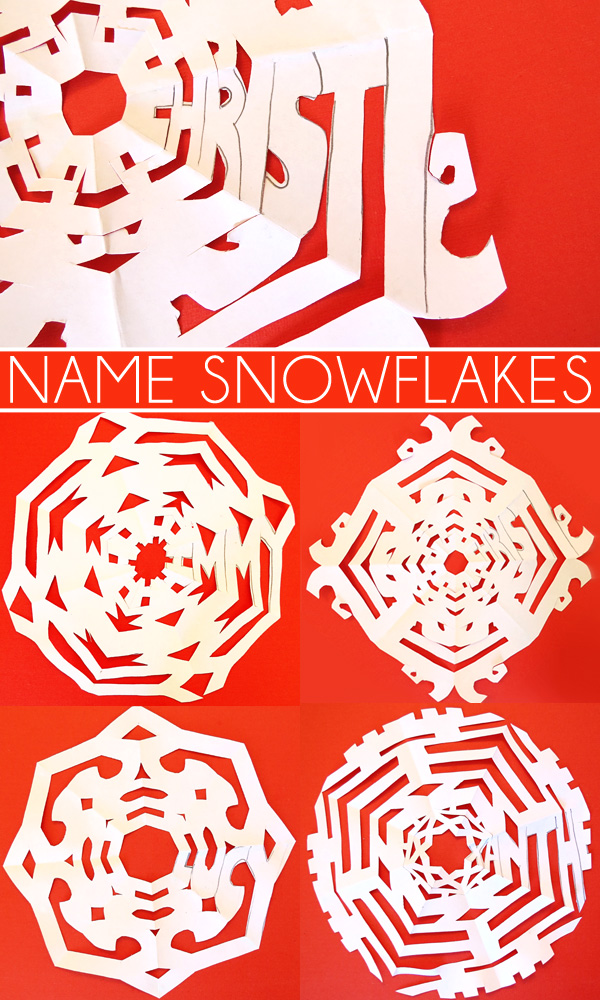 Kids Name Art Ideas: Name Snowflakes