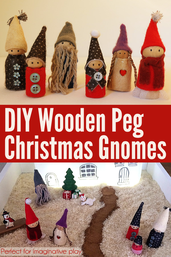 DIY Wooden Peg Imaginative Play Gnomes