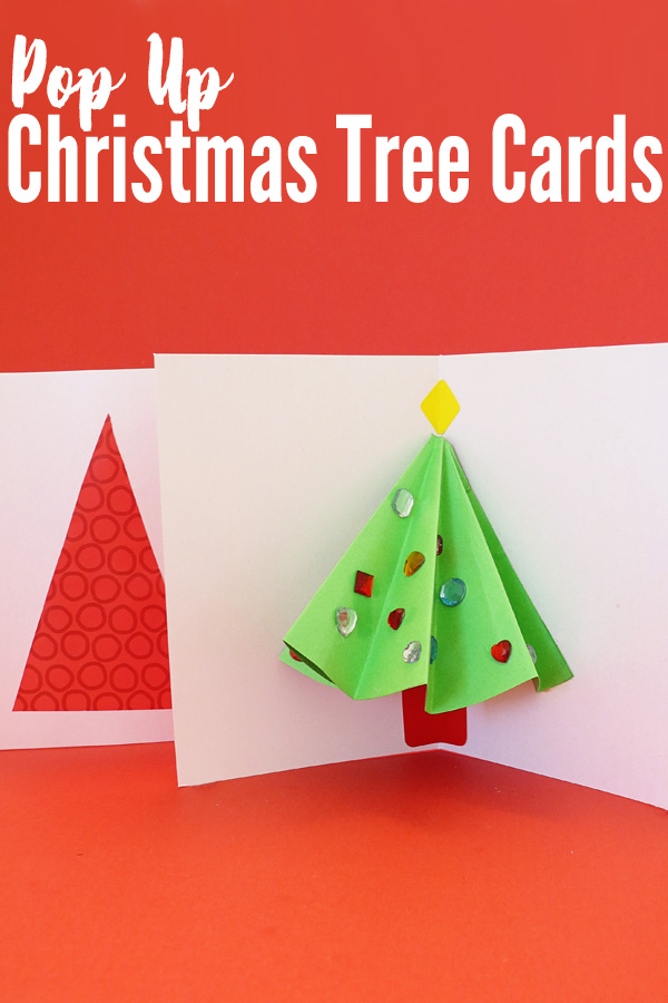Simple Pop Up Christmas Tree Cards for Kids to Make