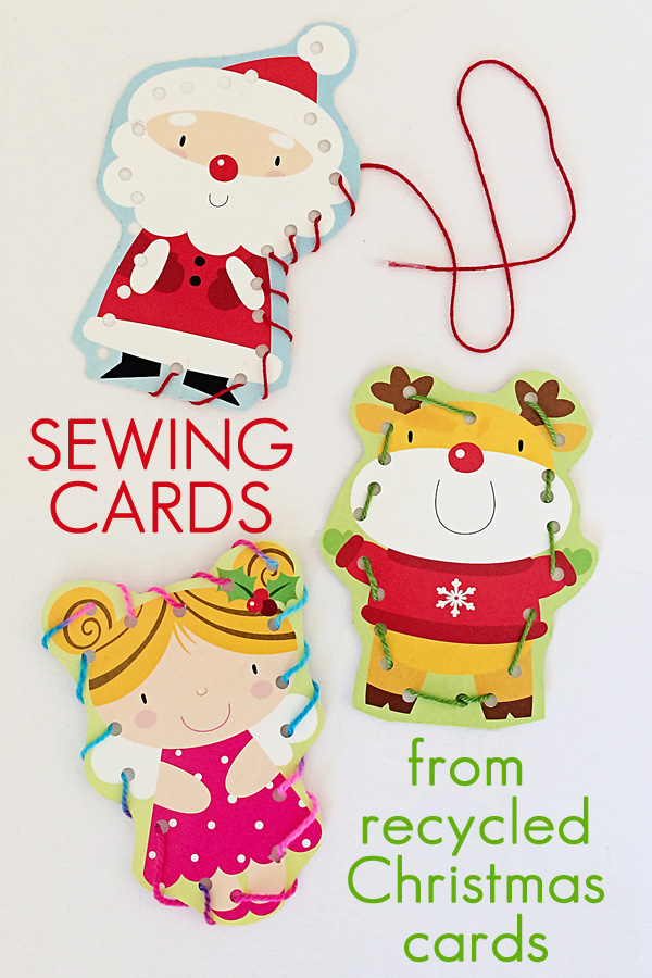 Kids Sewing Cards from recycled Christmas or birthday cards