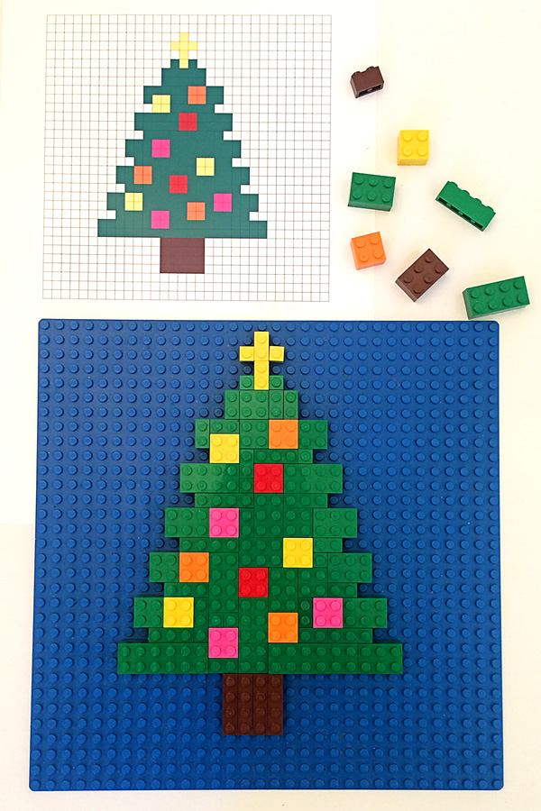 3 Christmas Themed Printable Lego Mosaic Patterns