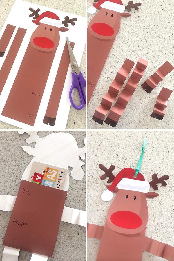 Free Printable Reindeer Gift Card Holder