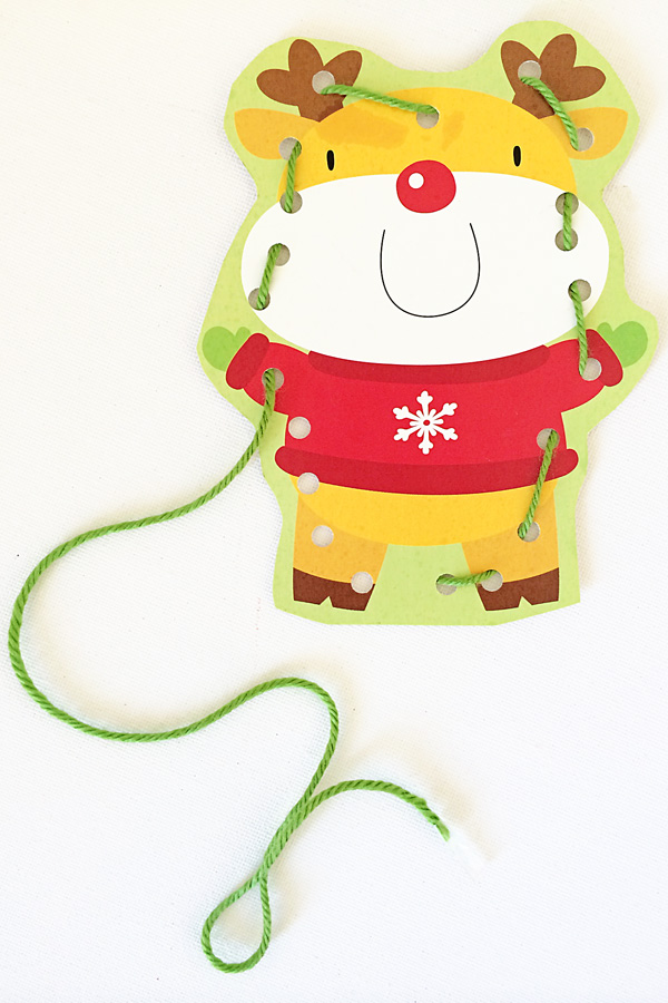 Make sewing cards for kids from recycled Christmas or birthday cards