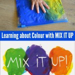 Toddler art: Learning About Colour Mixing with Mix It Up and Press Here