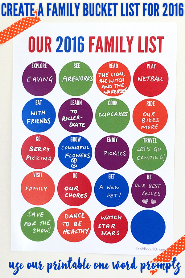Create a 2016 Family Bucket List with the fun one word prompts on this handy printable