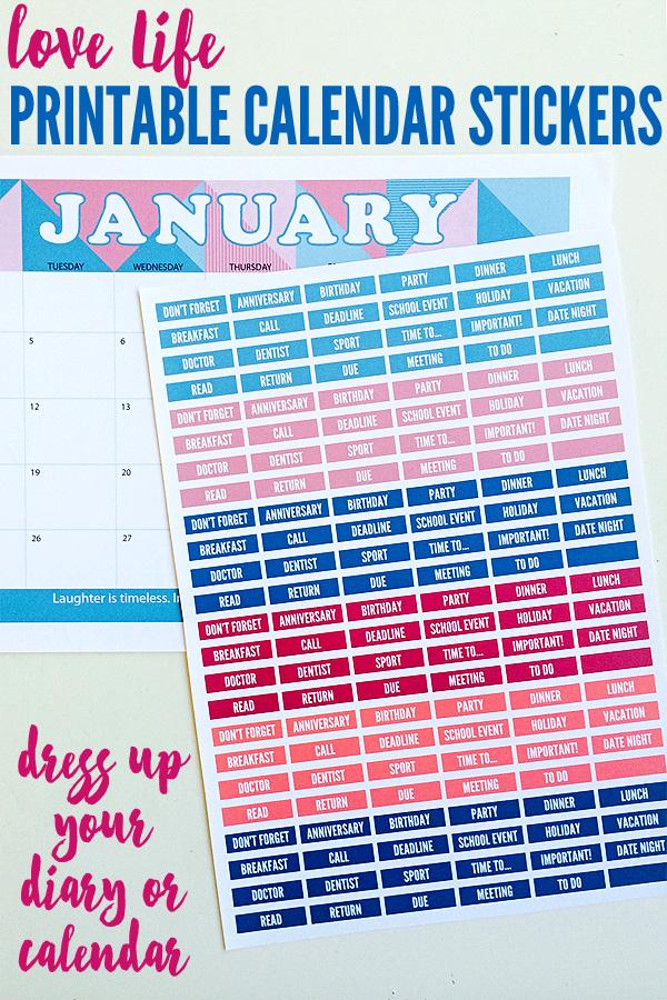 Love Life Printable Calendar Stickers
