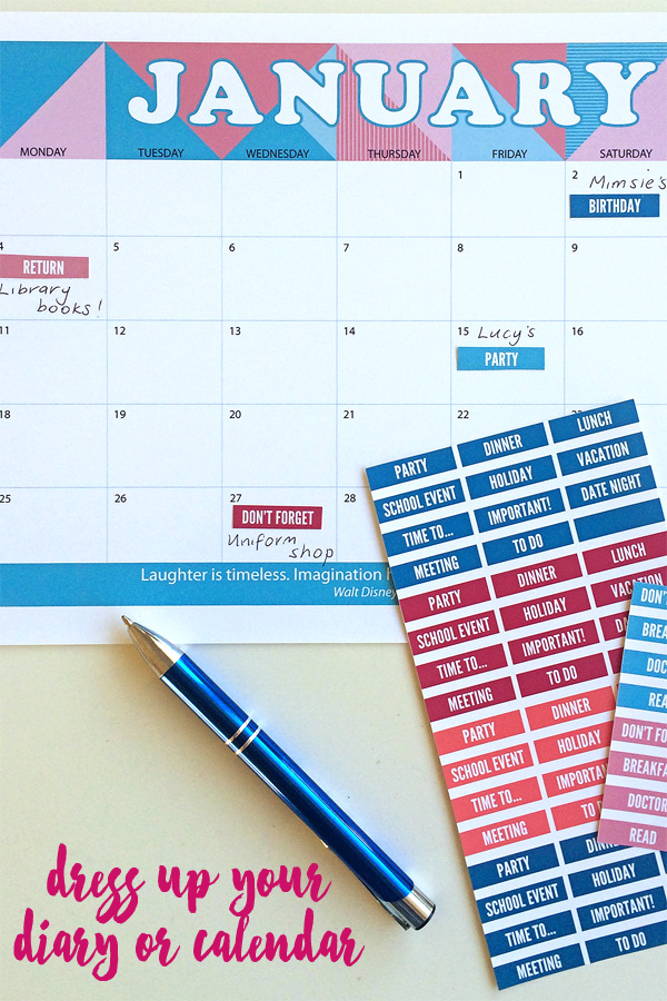 Love Life Printable Calendar Stickers perfect for dressing up your diary or calendar