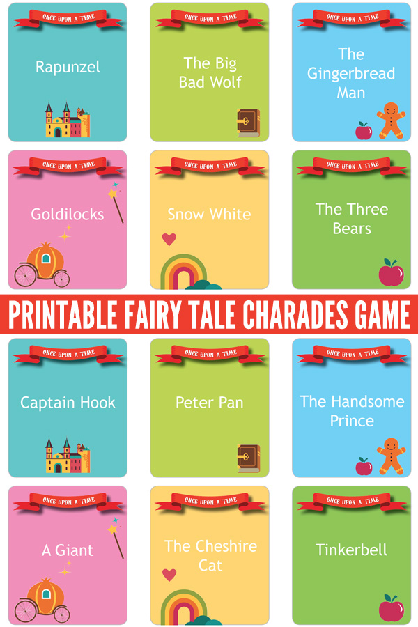 photo relating to Charades Printable known as Printable Fairy Story Charades Recreation: Providing Fairy Story
