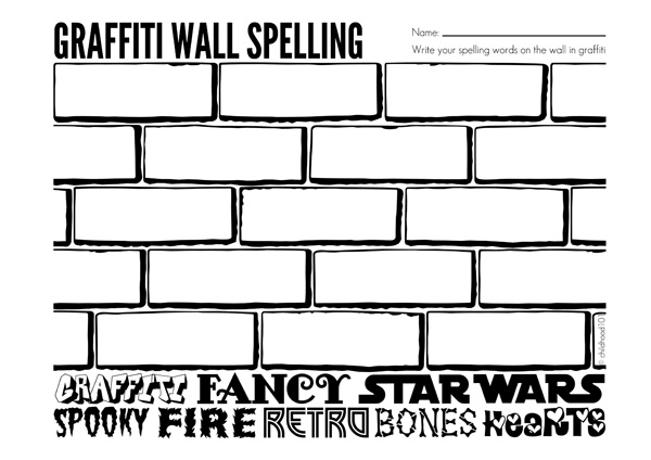 Spelling activities graffiti wall spelling printable for Blank word wall template free