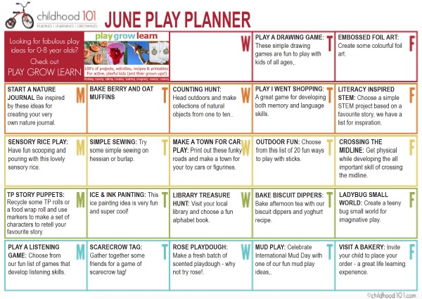 June Play Planner: Fun ideas for the month of June!