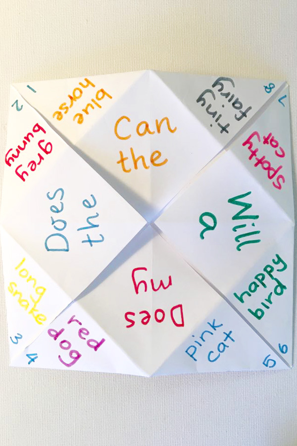 Silly Sentence Chatterboxes: Fun activity idea for children learning to read