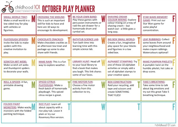 October play planner
