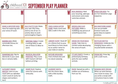 September play planner