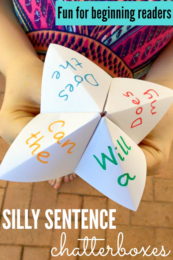 beginning reader games silly sentence chatterbox