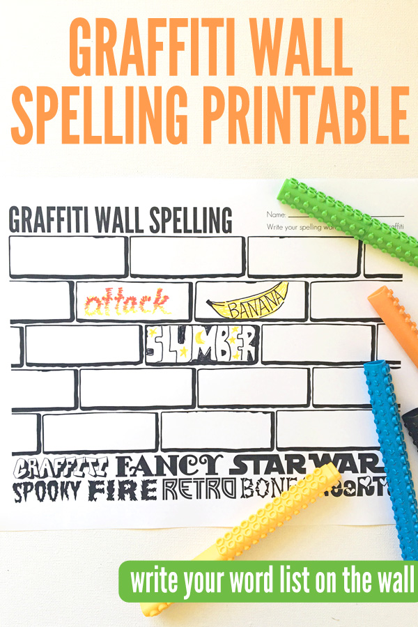 Spelling Activities: Graffiti Wall Free Spelling Printable