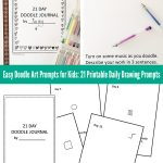 Easy Doodle Art Prompts for Kids: 21 Printable Daily Doodle Prompts