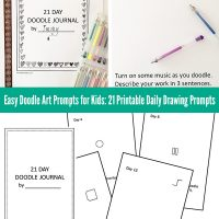 Easy doodle art prompts for kids: 21 printable daily drawing prompts