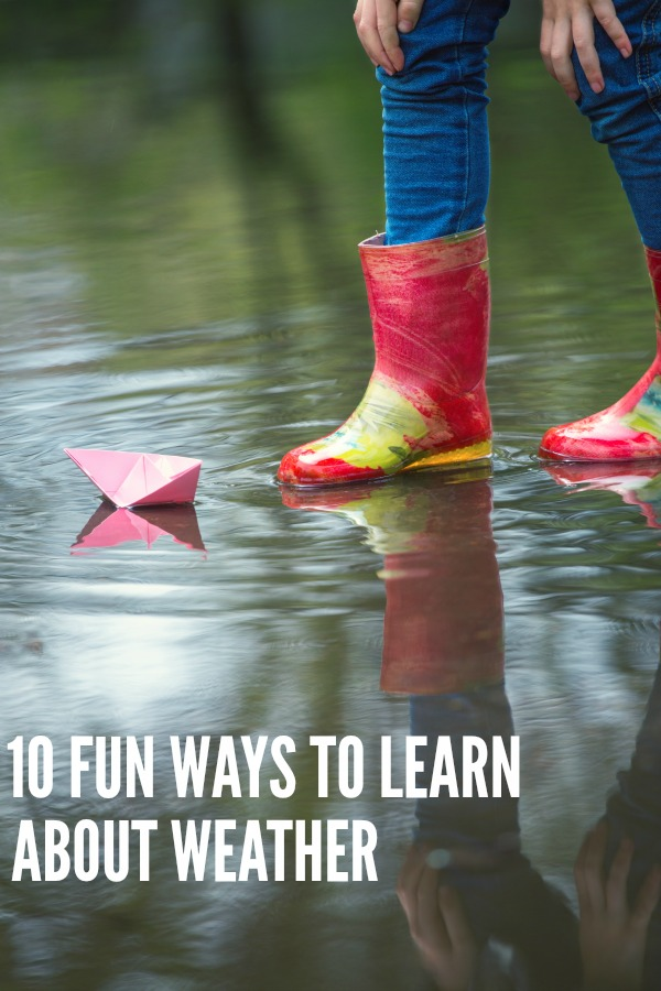 Simple science for kids: 10 fun ways to teach kids about the weather. Great ideas for a weather unit exploring rain, wind, sun, clouds and snow. Includes printable weather chart.