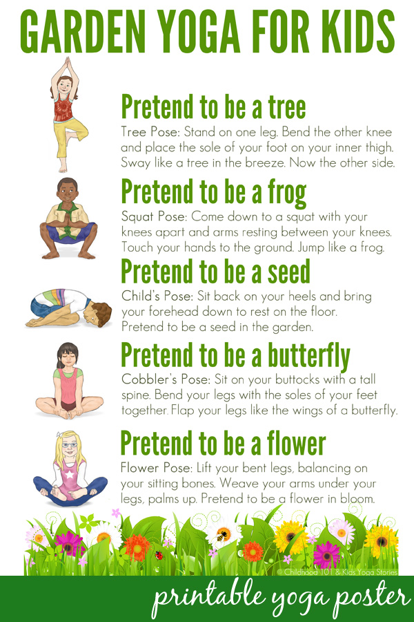 Garden Yoga for Kids: Free Printable Poster: Take a walk through nature with this garden themed yoga routine for kids. Suitable for use toddlers to school aged children. Includes a free printable poster to use in the home or classroom.