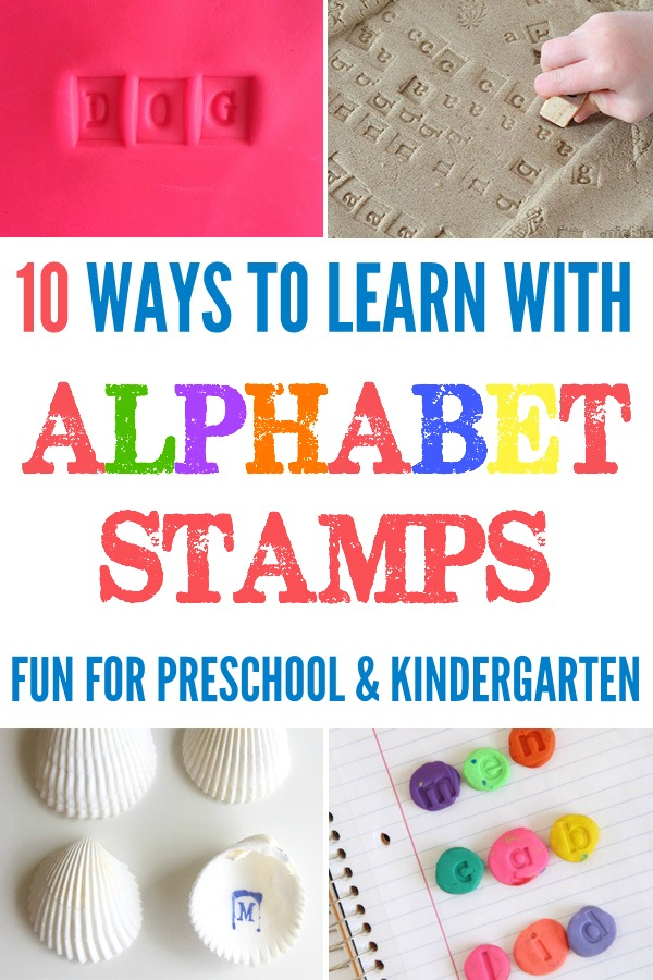 10 alphabet stamp learning activities for preschool kindergarten 10 fun ways to learn with alphabet stamps for preschool and kindergarten sciox Image collections