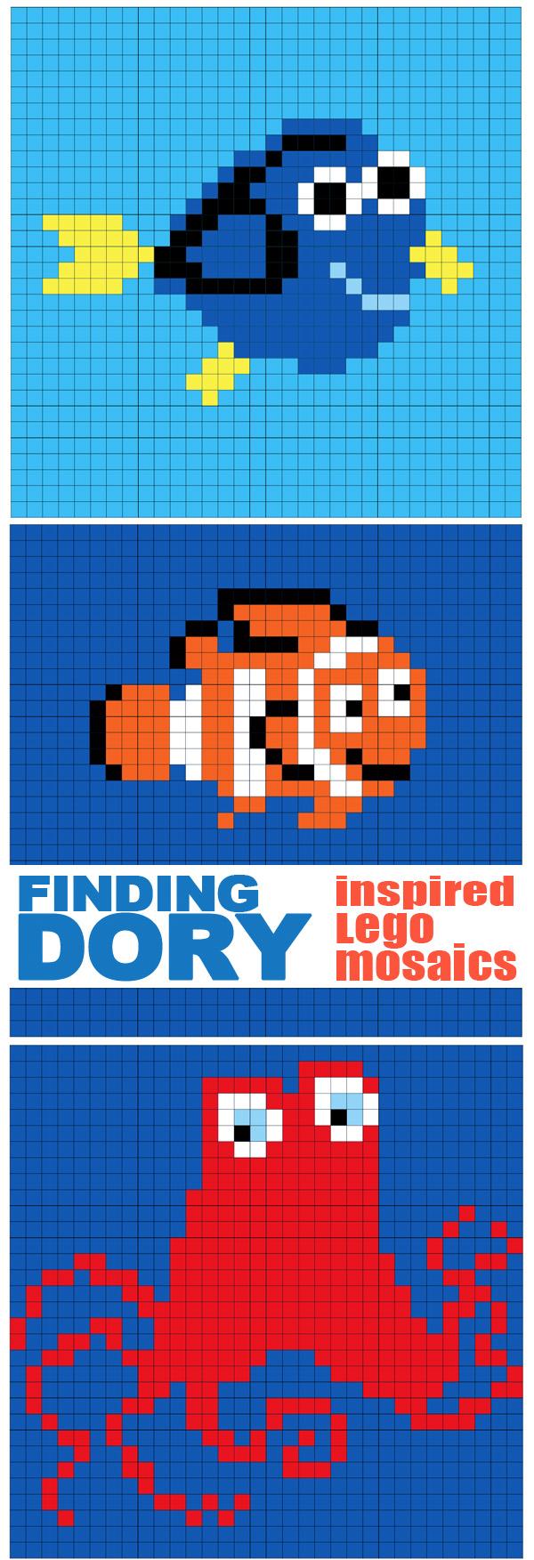 Finding Dory Inspired Lego Mosaics