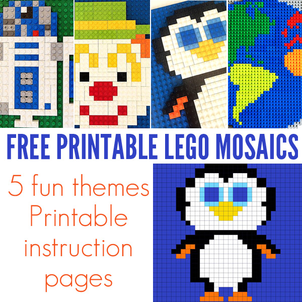 Free Lego Mosaic Printables. 15 designs.
