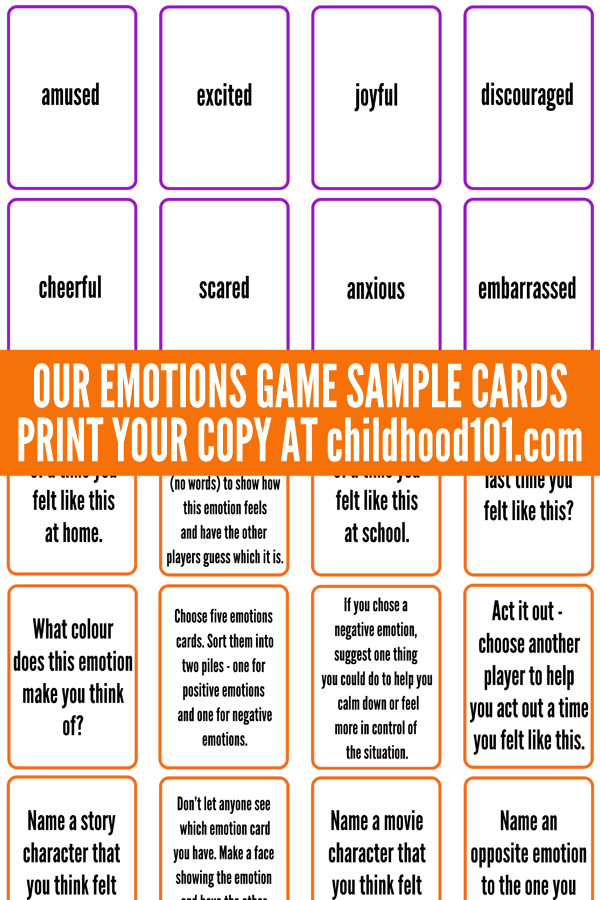 image relating to Free Printable Emotion Cards identified as Afford to pay for Substantial Feelings: Our Thoughts Card Sport Printable