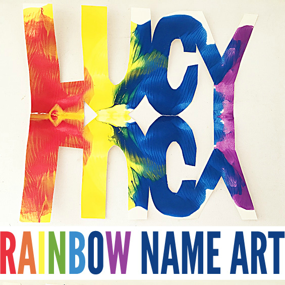 Super Cool Kids Art Ideas: Name Rainbows
