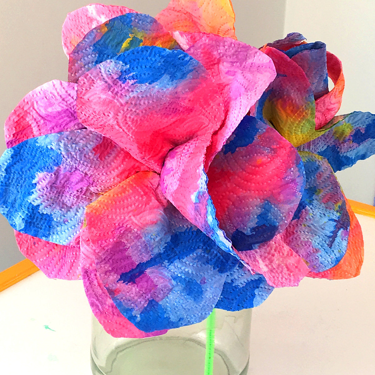 Kids Craft Idea Drip Painted Paper Towel Flowers