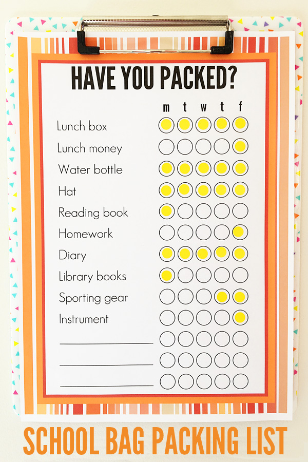 Back To School Printable School Bag Packing List