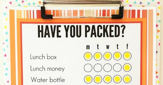 School bag packing list