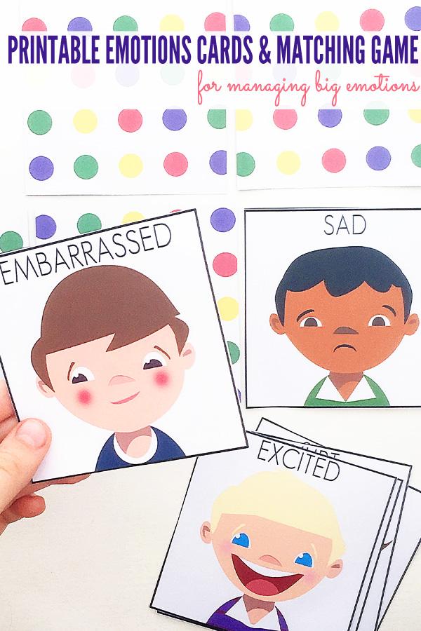 Managing Big Emotions: Printable Emotions Cards & Matching Game