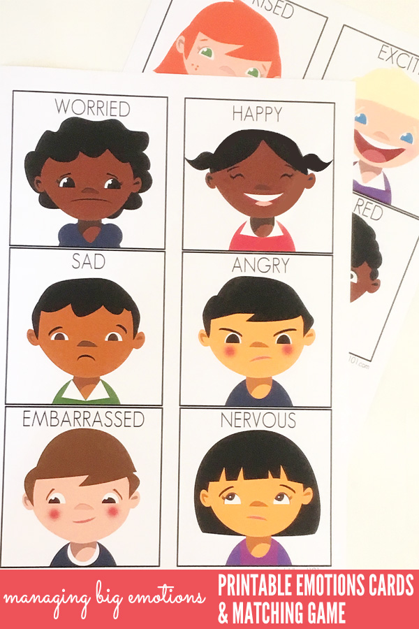 managing big emotions printable emotions cards and matching game great for use with children