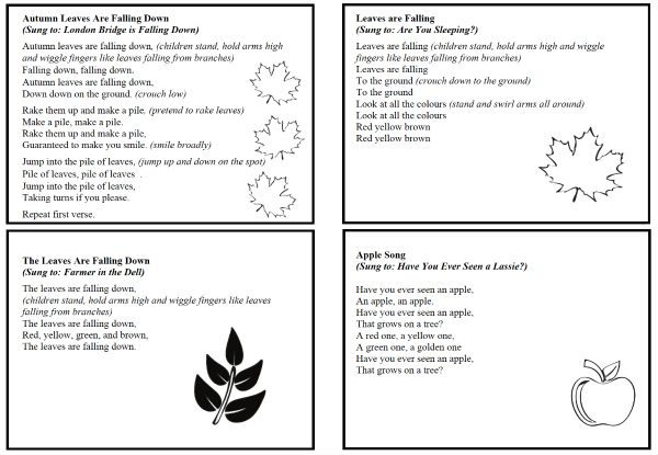 Finger plays and action songs to celebrate Autumn/Fall and Spring with preschool and kindergarten children. Includes printable set of song cards.