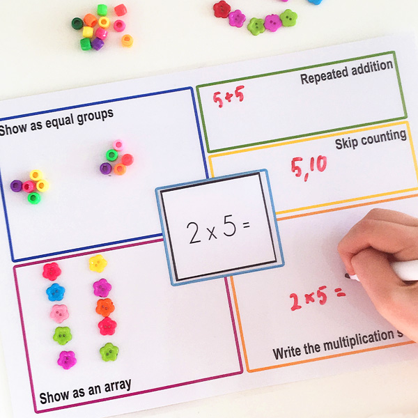 Printable multiplication strategy mats