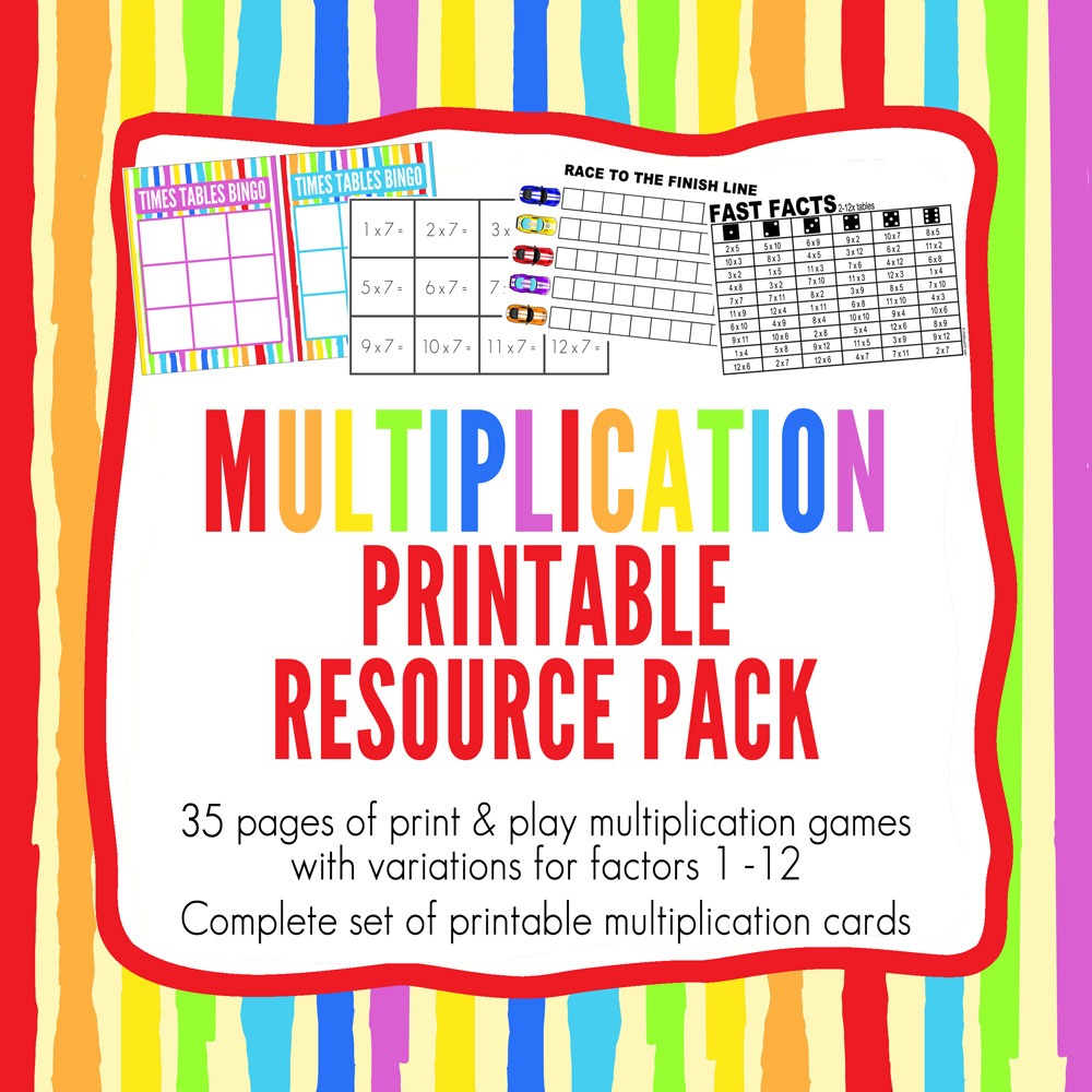 Multiplication games printable pack - 35 page printable Multiplication Resource Pack includes a fun collection of 10 multiplication games that review multiplication of factors 1 to 12. Designed to encourage children to apply multiplication learning, and to get them thinking and responding quickly, these games are quick and easy to prepare and simple to play. Perfect for grades 3+