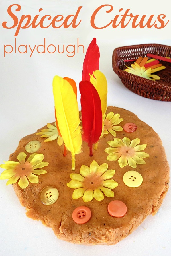Spiced citrus playdough recipe. Fabulous sensory play recipe for Autumn/Fall.