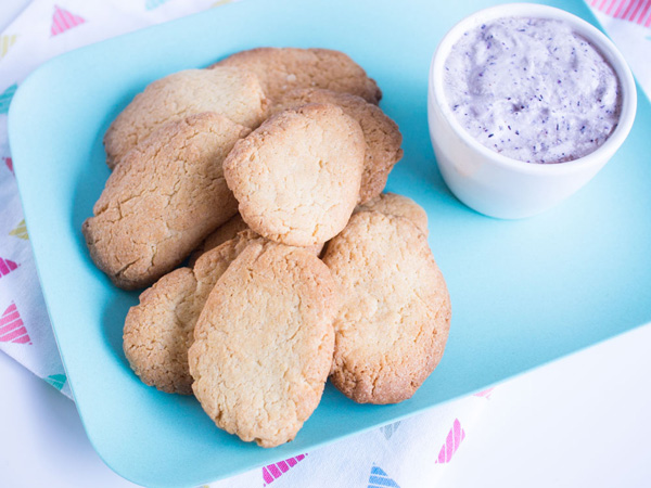 Homemade biscuit yoghurt dippers with berry yoghurt. Great snack or lunch box recipe idea.