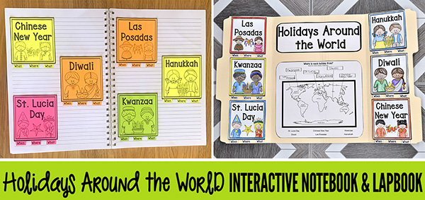 Holidays around the world for kids interactive notebook lapbook