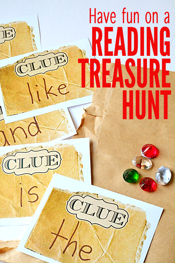 We're going on a treasure hunt, but not just any treasure hunt.  It's a treasure hunt that sneaks in a little reading practice.  So grab a list of sight words or vocabulary words that your child needs to practice and get ready to play.