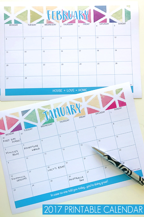 2017 Printable Calendar. Get organized! Print your copy of this handy 2017 calendar. With plenty of space for entries, this is the best calendar for 2017!