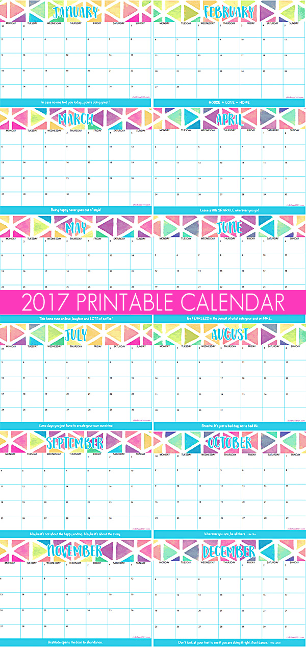 2017 Printable Calendar. Get organized! Print your copy of this handy 2017 calendar. Printable.  With plenty of space for entries, this is the best calendar for 2017!