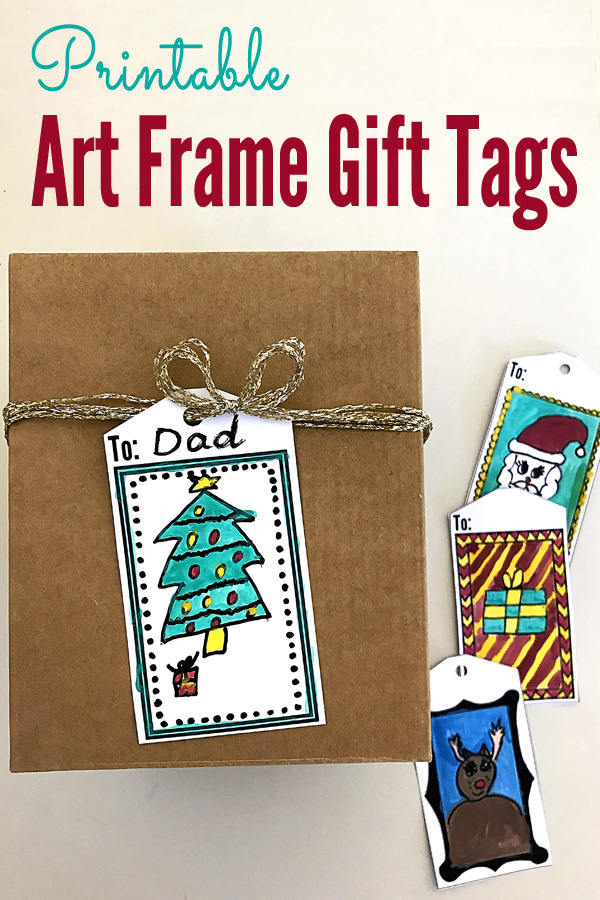 Printable Art Frame Gift Tags for Kids to Decorate