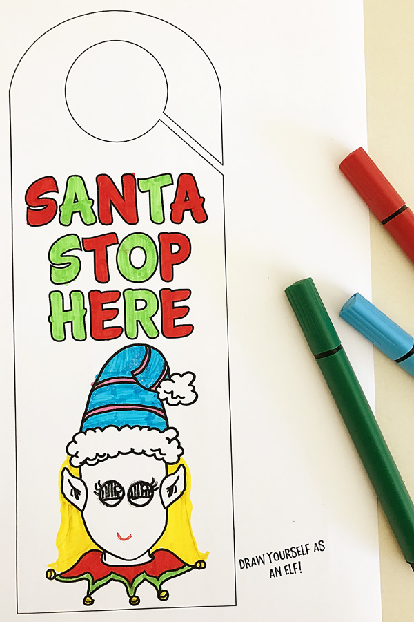 printable christmas door hanger coloring page fun for christmas eve