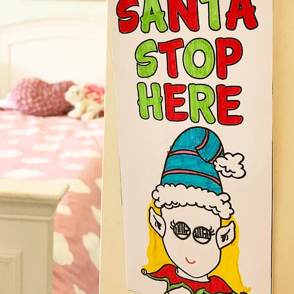 Printable Christmas Door Hanger, Coloring Page. Fun for Christmas Eve!