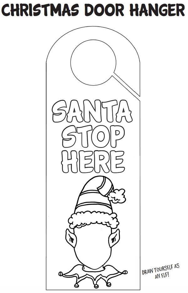 Printable Christmas Door Hanger Coloring Page Fun For Eve