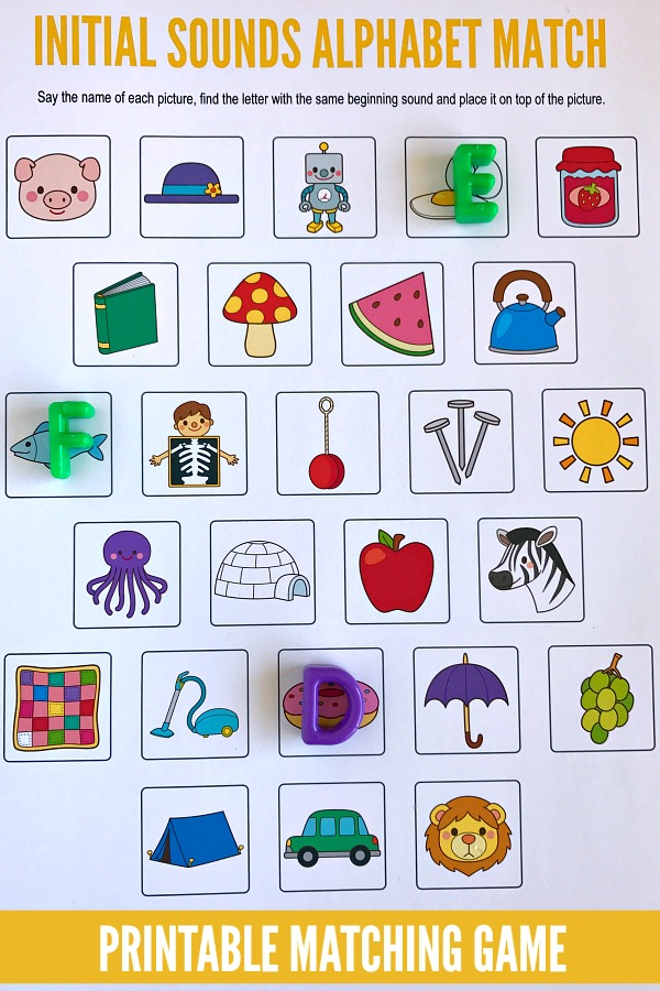 image relating to Letter Sound Games Printable identify Starting Seems Alphabet Matching Recreation